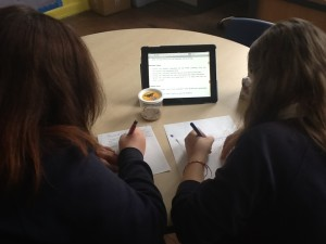 Researching the life cycle of butterflies (caterpillars in the pot in front of them)